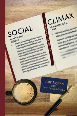The book cover of Social Climax, with a cup of coffee, ink pen, and the book open with a bookmark.
